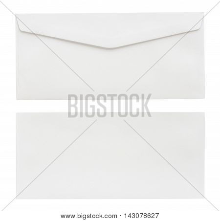 close up white envelope isolated on white background with Clipping Paths
