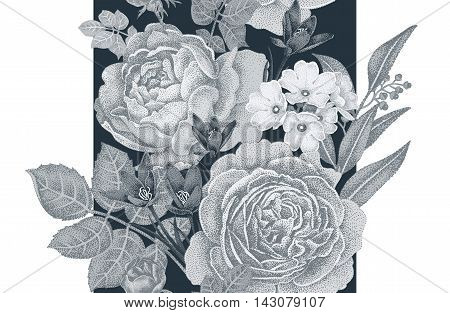 Vintage vector seamless pattern. Black and white illustration with roses and spring flowers. Floral design.