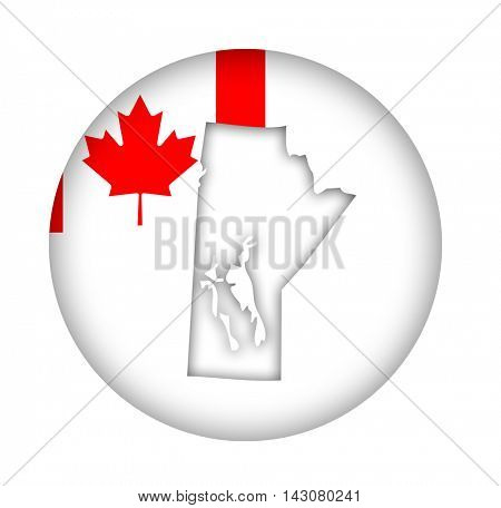Canada state of Manitoba map flag button isolated on a white background.