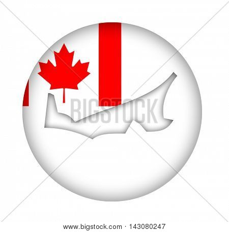 Canada state of Prince Edward Island map flag button isolated on a white background.