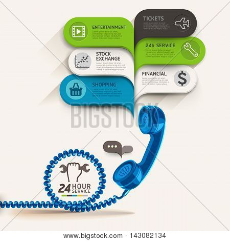 Business service icons and telephone with bubble speech template. can be used for workflow layout diagram number options step up options web design banner template infographics.