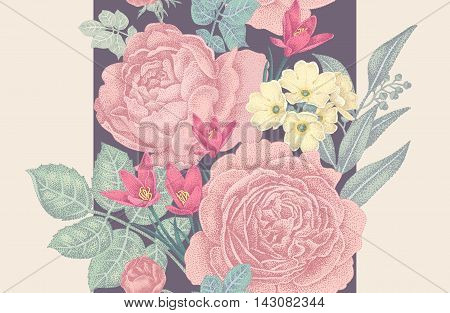 Vintage vector seamless pattern. Illustration with roses and spring flowers. Floral design.