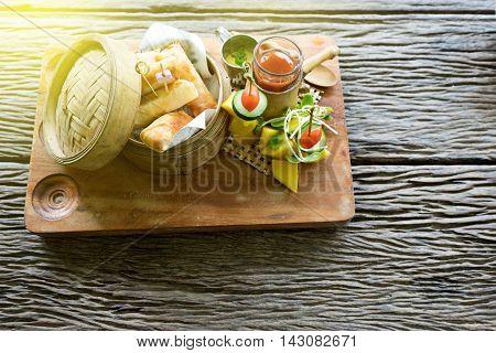 Fried Spring Rolls In Dimsum Bamboo Basket