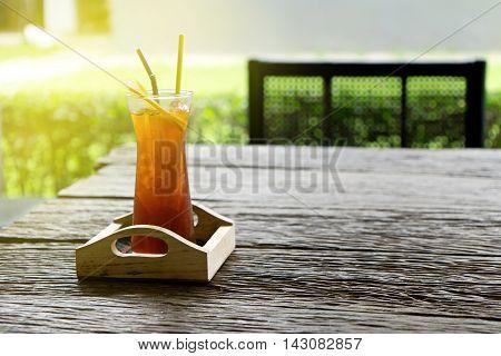 Lemon Ice Tea On Wood