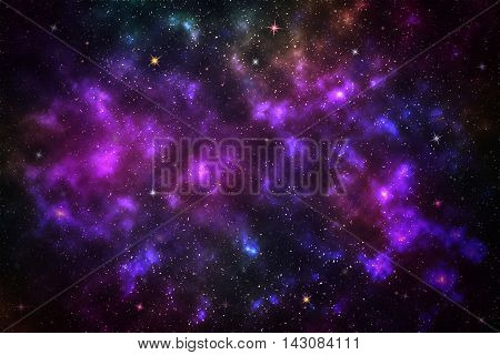 Beautiful stars on night sky galaxy background