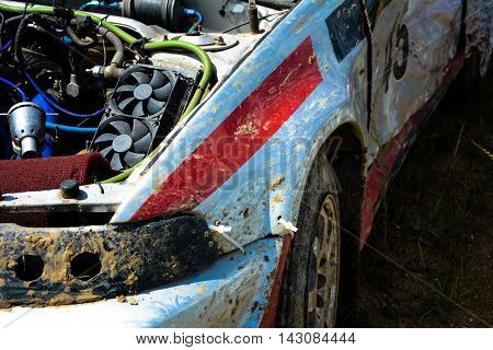 Beaten, dirty car after racing. The competition in autocross
