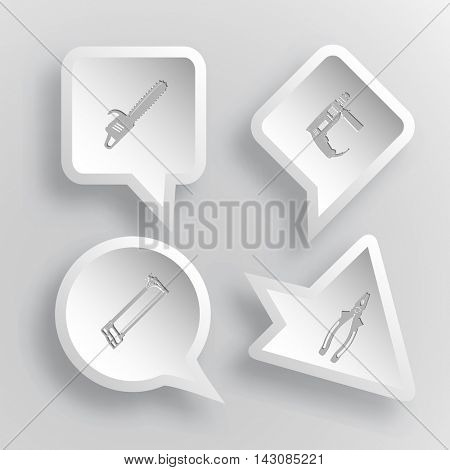 4 images: gasoline-powered saw, electric drill, hacksaw, pliers. Industrial tools set. Paper stickers. Vector illustration icons.