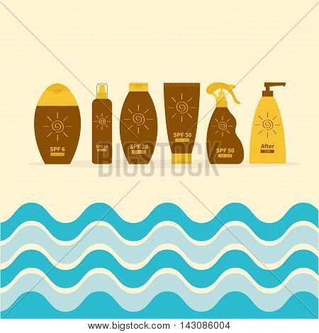 Tube of sunscreen suntan oil cream. After sun lotion. Bottle set. Solar defence. Spiral sun sign symbol icon. SPF different sun protection factor. UVA UVB sunscreen. Sea big wave frame. Flat Vector