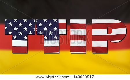 Concept TTIP - Transatlantic Trade and Investment Partnership. United States and Germany real fabric flags combined in TTIP text.