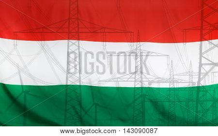 Concept Energy Distribution Flag of Hungary merged with high voltage power poles