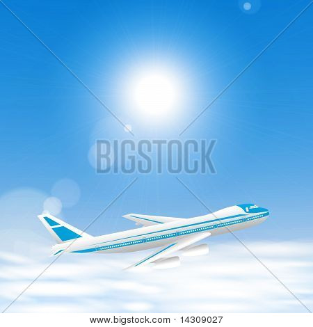 Airplane Above The Clouds In The Blue Sky.