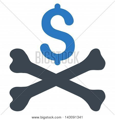 Mortal Debt icon. Vector style is bicolor flat iconic symbol with rounded angles, smooth blue colors, white background.