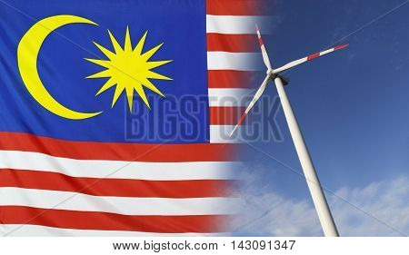 Concept clean energy with flag of Malaysia merged with wind turbine in a blue sunny sky