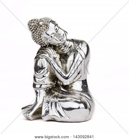 Seat silver Buddha statue isolated on white