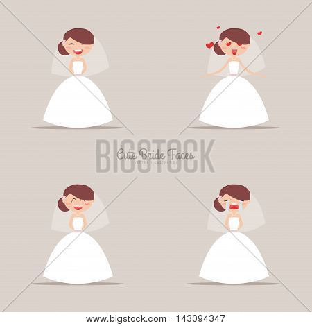 Cute girlfriend with a wedding dress and a different expresion faces on a gray background