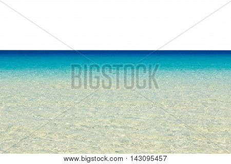 Calm tropical blue sea isolated on white background to add sky