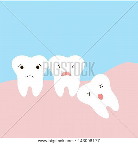 Problems caused by impacted wisdom teeth include. Sleepy tooth of impacted tooth. dystopic teeth. funny cartoon illustration of the emotions of the teeth children information in dentistry