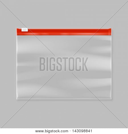 Vector empty transparent plastic zipper slider bag illustration