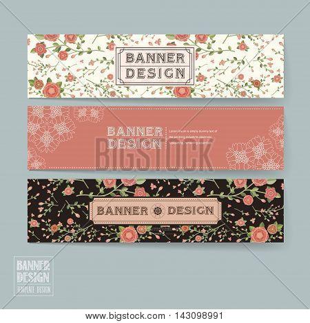 Graceful Floral Banner Template Design