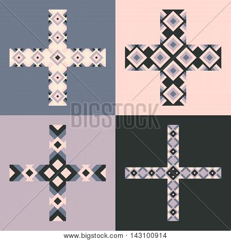 Vector Emblem Design Templates And Patterns. Abstract Decorative Icons. Set Of Creative Crosses.