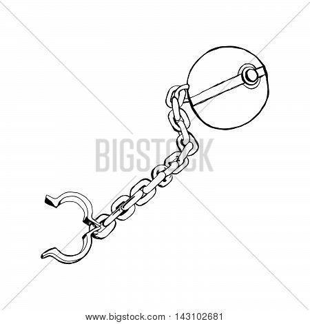 illustration vector doodle hand drawn sketch of Iron chain with shackle isolated on white background.