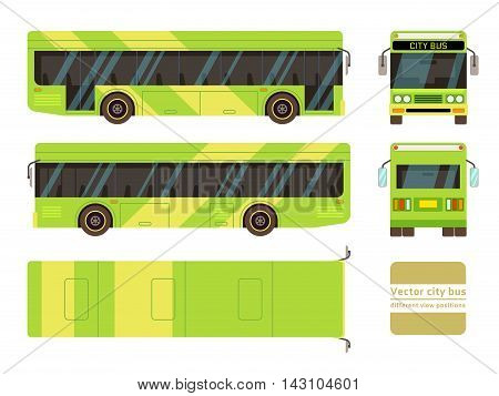 Vector city bus in different view positions. Front and side vehicle illustration