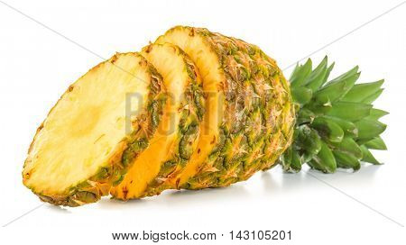 Pineapple with slices, isolated on white