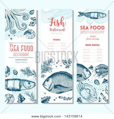 Seafood vintage design template. Vertical banners set. Vector illustration hand drawn linear art. Fish and seafood restaurant menu