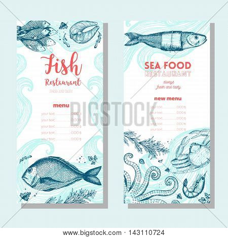 Seafood vintage design template. Vertical banners set. Vector illustration hand drawn linear art. Fish and seafood restaurant menu. Hand drawn sketch seafood vector banners