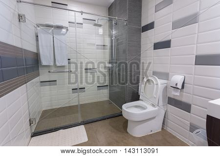 Photo of solid fixture in commodious new style bathroom