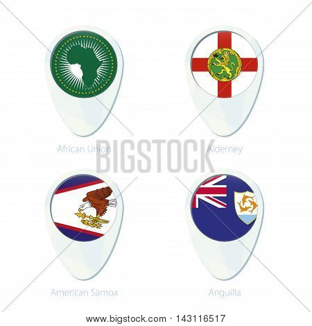 African Union, Alderney, American Samoa, Anguilla Flag Location Map Pin Icon.