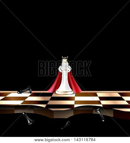 dark background and abstract chess board with white and black figures