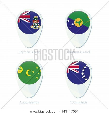 Cayman Islands, Christmas Island, Cocos Islands, Cook Islands Flag Location Map Pin Icon.
