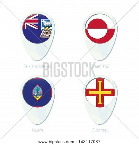 Falkland Islands, Greenland, Guam, Guernsey Flag Location Map Pin Icon.