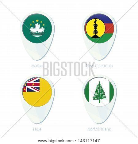 Macau, New Caledonia, Niue, Norfolk Island Flag Location Map Pin Icon.