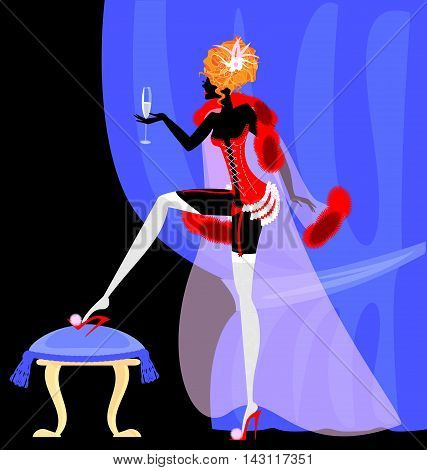 abstract blue drape and abstract lady in the red corset with glass of wine