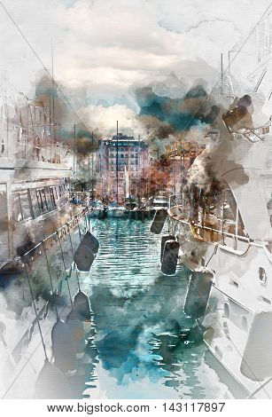 Luxury yachts in Port Le Vieux. Cannes France. Digital watercolor painting.