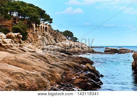 Platja D'Aro beach. Costa Brava in Catalonia Spain.