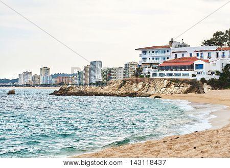 Coastline of Platja d'Aro is located in the heart of the Costa Brava 80 km north of Barcelona. Spain