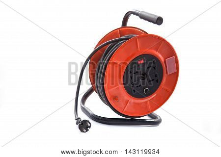 Electrical cable extension reel isolated on white background