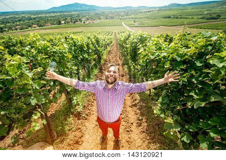Portrait of happy winery owner raising hands with wine glass on the vineyard. Top view with landscape view