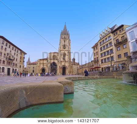 A Cathedral Square of Oviedo in Spain.