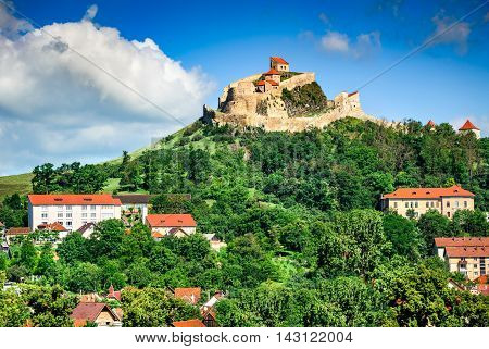 Rupea Romania. Ruins of Rupea Fortress from medieval Transylvania built by saxons in XIVth century nowaday landmark of the country (Brasov County)