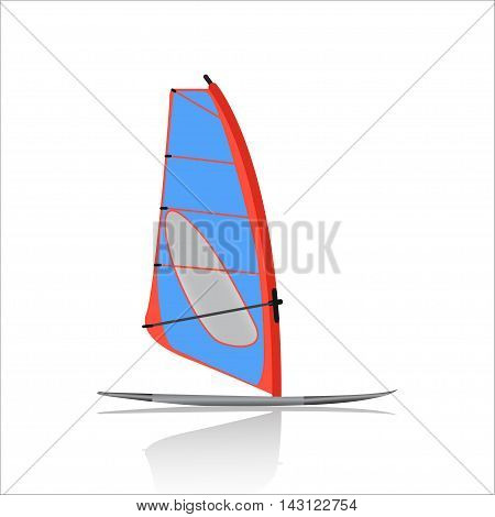 Board Windsurfing icon,  Water sport and entertainment. Swimming and windsurfing  isolated on white background. vector illustration