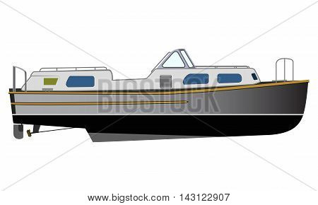 Vector flat design narrowboat. Narrow canals boat water transport illustration. River barge based leisure and recreation cruising transport narrow boat. River houseboat