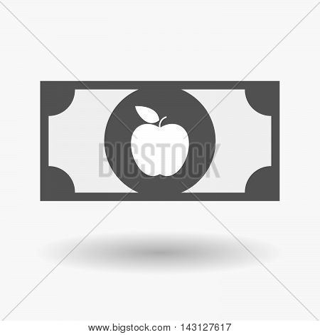 Isolated Bank Note Icon With An Apple