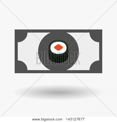 Isolated Bank Note Icon With A Piece Of Sushi Maki
