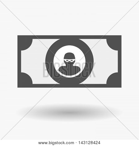Isolated Bank Note Icon With A Thief