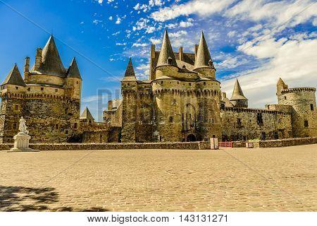 Medieval castle of Vitré in Brittany, France.