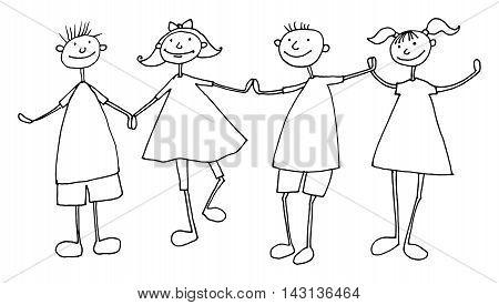 Hand draw cartoon family on white bakground
